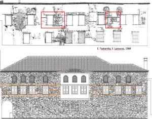Σχέδιο αποτύπωσης και πρότασης αποκατάστασης της Νότιας όψης.