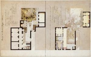 Κάτοψη της οικίας Μασσών, ενός άλλου αθηναϊκού αρχοντόσπιτου, από τον Carl Haller von Hallerstein (1814).