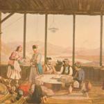 Δείπνο στο σπίτι του Επισκόπου Άμφισσας στο χωριό Χρισό, από τον  Edward Dodwell (1805/6). © Γεννάδειος Βιβλιοθήκη