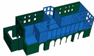 Απεικόνιση των δομικών στοιχείων του μνημείου: λιθοδομή (πράσινο χρώμα) και ξύλινα μέρη (μπλε χρώμα).