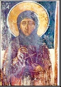 Η οσία Φιλοθέη. Τοιχογραφία στο ναό του Αγίου Χαραλάμπους στη Σαλαμίνα.