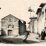Διώροφες λιθόκτιστες κεραμοσκεπείς οικίες στην οθωμανική Αθήνα. Δρόμος της Αθήνας από τον Louis Dupré (1825).