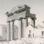 Διώροφες λιθόκτιστες κεραμοσκεπείς οικίες στην οθωμανική Αθήνα. Άποψη της πόλης από τον Vincenzo Coronelli (1688).