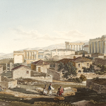 Two-story stone houses with tile roofs in Ottoman Athens. View of the Acropolis by Edward Dodwell (1805/6).