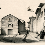 Two-story stone houses with tile roofs in Ottoman Athens. An Athenian street by Louis Dupré (1825).