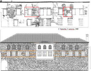 Drawn rendition and proposed restoration of the South façade.