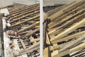 The restoration of the timber roof – before and after.