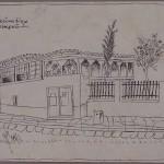 Σπίτι στη Βλασσαρού, όπου συνυπήρχαν κλειστός ηλιακός και ανοιχτό χαγιάτι, έργο του Γιάννη Τσαρούχη. (Πριν το 1928;) © Ίδρυμα Γιάννη Τσαρούχη