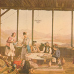 Dining at the house of the Bishop of Amphissa in the village Chriso, by Edward Dodwell. © Gennadius Library